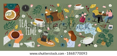Morning coffee in cafe concept vector poster. People at a table in a restaurant drink tea. Friends meeting for breakfast. People drink hot tea. Table with tea pot and cups