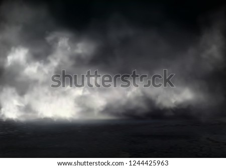Morning fog or mist on river, smoke or smog spreading at dark water or ground surface realistic vector background. Natural phenomenon, mysterious atmosphere element, environment design visual effect