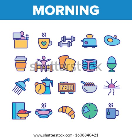 Morning Food And Tools Collection Icons Set Vector Thin Line. Morning Coffee Cup And Breakfast, Douche And Working Place, Sunrise And Clock Concept Linear Pictograms. Color Illustrations
