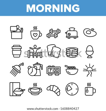 Morning Food And Tools Collection Icons Set Vector Thin Line. Morning Coffee Cup And Breakfast, Douche And Working Place, Sunrise And Clock Concept Linear Pictograms. Monochrome Contour Illustrations