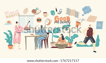 Morning Habits. Characters Daily Routine, Man and Woman Waking Up, Cooking Breakfast, Drinking Coffee Together at Home. Girl Doing Yoga or Stretching, Man Jogging. Linear People Vector Illustration Photo stock ©