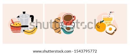 Morning. Healthy breakfast. Cereals, tea or coffee pot and banana, juice, croissant, avocado, egg, orange. Set of three hand drawn trendy vector illustrations. Cartoon style. Flat design.  Foto stock ©