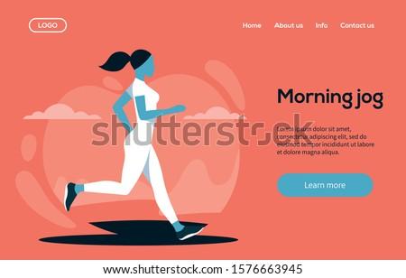 Morning jog landing page template. Young women doing morning jog. Health lifestyle concept. Vector illustration. Flat design concept.
