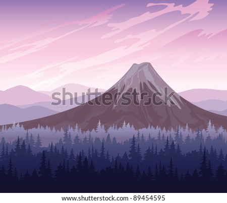 morning landscape with volcano