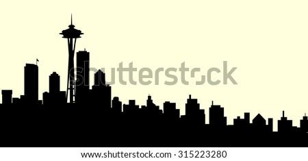 seattle skyline vector download free vector art stock graphics rh vecteezy com Seattle Skyline Outline seattle skyline logo vector