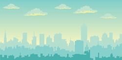 Morning  sky and clouds over city silhouette  vector cityscape illustration