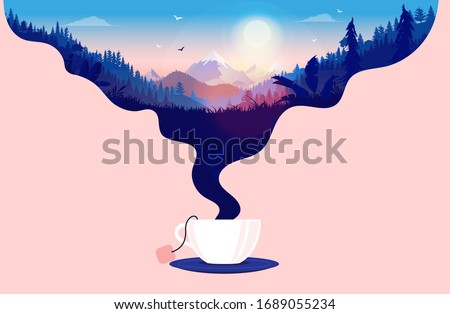 Morning tea - Cup of tea with steam forming a beautiful landscape with sunrise. A great way to start the day, and tea break concept. Vector illustration.