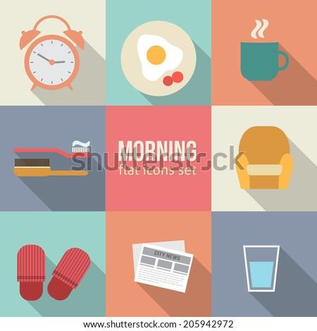 morning time icons set flat