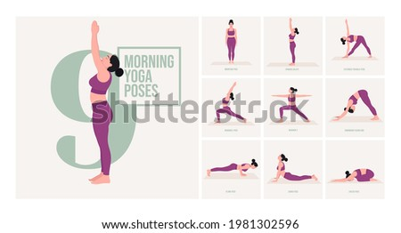 Morning Yoga poses . Young woman practicing Yoga pose. Woman workout fitness, aerobic and exercises. Vector Illustration. Foto stock ©