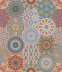 Moroccan  azulejos  tiles patchwork mosaic vector seamless pattern