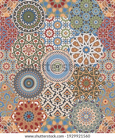 Moroccan  azulejos  tiles patchwork mosaic vector seamless pattern Photo stock ©