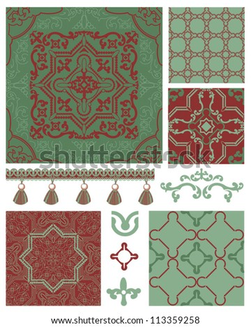 Moroccan inspired seamless vector patterns and icons.