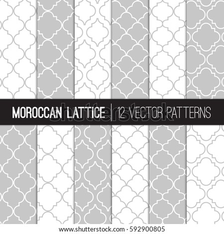 Moroccan  Lattice Patterns in White and Silver Grey. Modern Elegant Neutral Backgrounds. Classic Quatrefoil Trellis Ornament. Vector Pattern Tile Swatches Included.