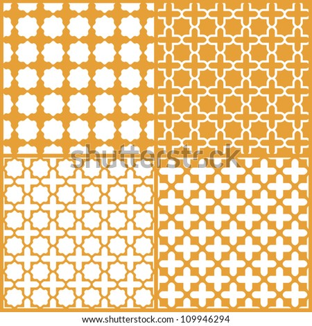 Moroccan lattice seamless patterns set, vector