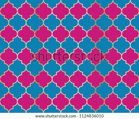 Moroccan Mosque Vector Seamless Pattern. Eid al fitr muslim background.  Holy month ramadan kareem mosque pattern with gold grid mosaic.  Islamic textile grid design of lantern shapes tiles.