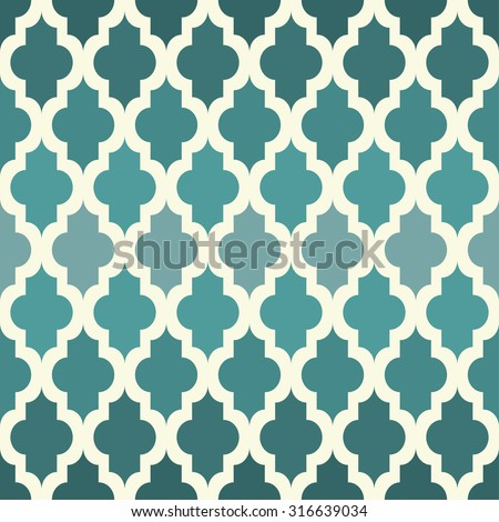 Moroccan seamless pattern. The emerald tones. Vector.