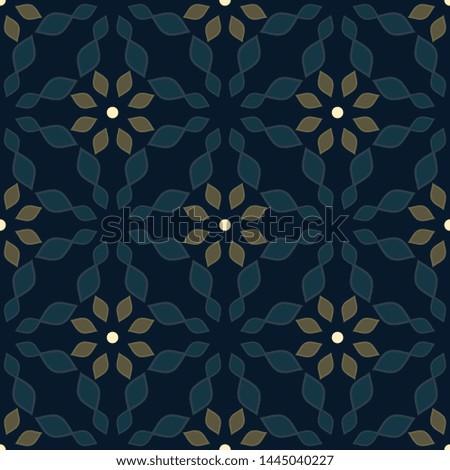 Moroccan tile pattern oriental floral mosaic. Ethnic flowers motif.  Simple geometric arrangement for dress fabric, interior wallpaper, apparel textile, wrapping paper. Decorative trellis print block.