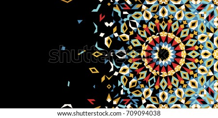Morocco Disintegration Template. Islamic Mosaic Design. Abstract Background business card, invitation.