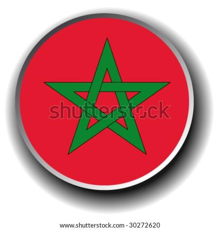 morocco flag icon - vector button
