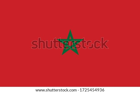 Morocco flag vector graphic. Rectangle Moroccan flag illustration. Morocco country flag is a symbol of freedom, patriotism and independence.