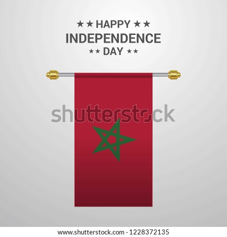 Morocco Independence day hanging flag background