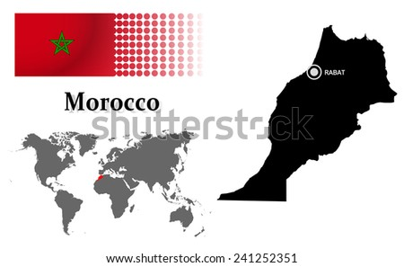 Free morocco vector series download free vector art stock morocco info graphic with flag location in world map map and the capital sciox Gallery
