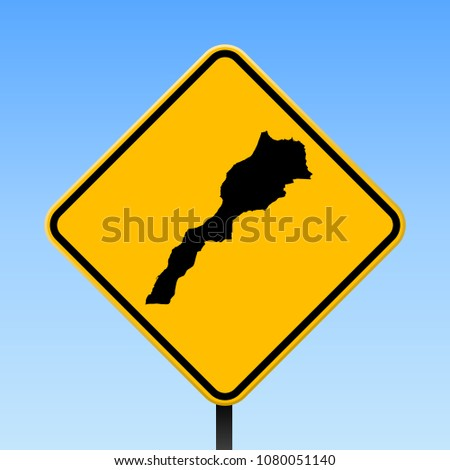 Morocco map road sign. Square poster with country outline on yellow rhomb signboard. Vector illustration.