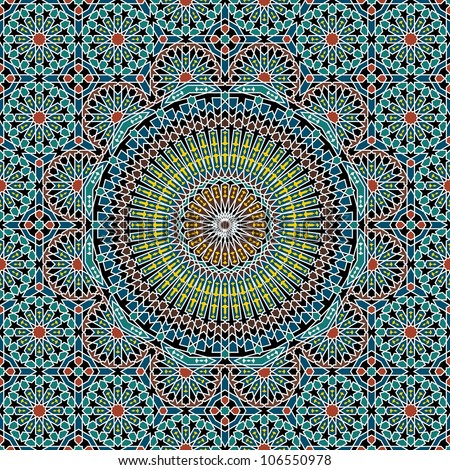 Morocco Seamless Pattern. Traditional Arabic Islamic Background. Mosque decoration element.