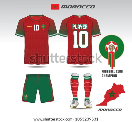 96380fbc2 Morocco soccer jersey or team apparel template. Mock up Football uniform  for football club.