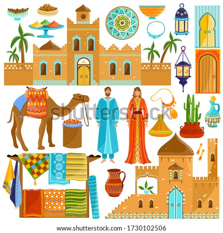 Morocco travel destination in Africa, national culture and traditions, isolated icons, vector illustration. Sightseeing tour to Morocco, oriental cuisine and bazaar market with colorful rugs carpets