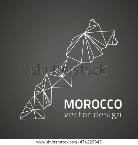 Morocco vector contour black polygonal map