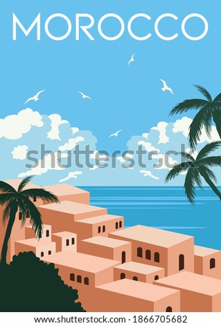Morocco Vector Illustration Background. Travel to Morocco Africa. Flat Cartoon Vector Illustration in Colored Style.