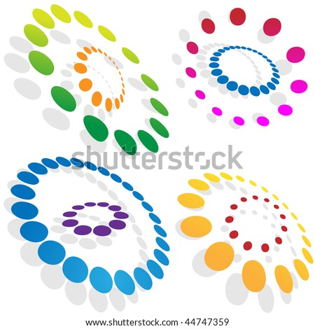 Morphing dotted circles isolated on a white background.