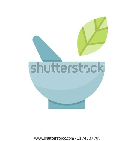 mortar and leaf icon for herb concept
