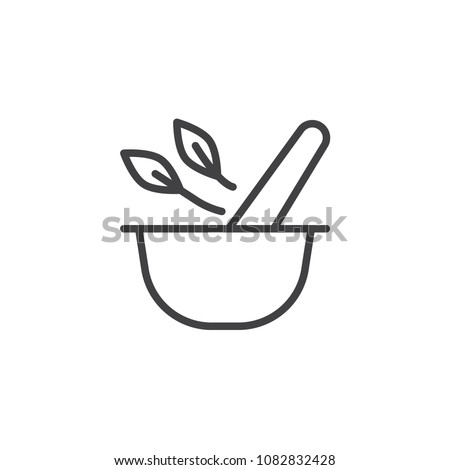 Mortar and pestle with herbal leaf outline icon. linear style sign for mobile concept and web design. Pharmacy and alternative medicine simple line vector icon. Symbol logo illustration. Pixel perfect