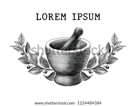 Mortar and pestle with herbs frame vintage engraving illustration logo isolated on white background,Logo of pharmacy and medicine Stockfoto ©