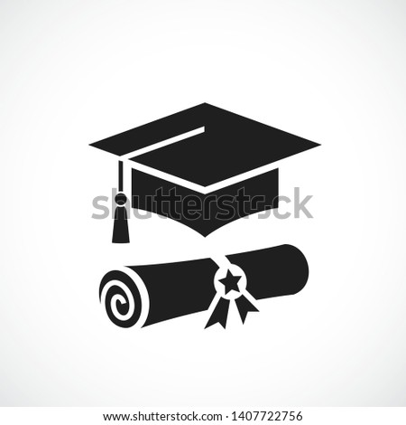 Mortarboard and academic diploma vector icon on white background