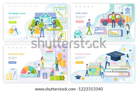 Mortgage and personal loan, student money borrowings, posters set vector. Education of people, buying car and transport, house, business start up