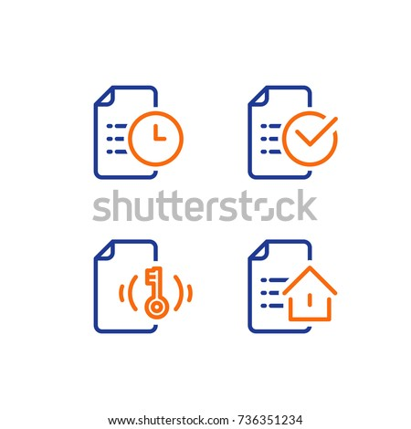 Mortgage application form icon, rental house contract creation, document terms and conditions, home loan approved mark, real estate concept vector line icon
