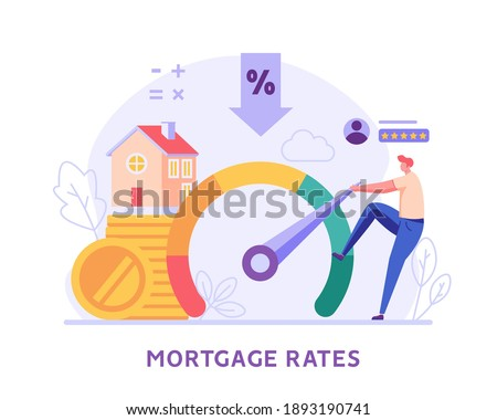 Mortgage Rates. Man Increasing Credit Rating for Low Rates. Interest Rates Dropping. Client Decrease Percent. Concept of Credit Score, Buy House, Mortgage Loan. Vector illustration for Web Design