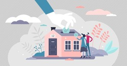 Mortgage vector illustration. House purchase savings process flat tiny person concept. Couple home ownership investment in piggy bank and property offer. Buy real estate for new family beginning.