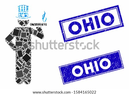 Mosaic American capitalist icon and rectangle Ohio seals. Flat vector American capitalist mosaic icon of randomized rotated rectangular items. Blue Ohio rubber seals with scratched surface.