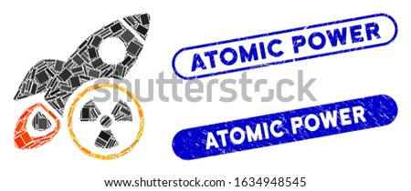 Mosaic atomic rocket science and rubber stamp seals with Atomic Power text. Mosaic vector atomic rocket science is designed with scattered rectangles. Atomic Power stamp seals use blue color,