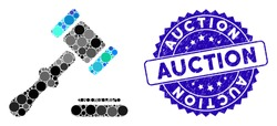 Mosaic auction icon and grunge stamp watermark with Auction phrase. Mosaic vector is formed with auction icon and with scattered spheric items. Auction stamp seal uses blue color, and grunge texture.
