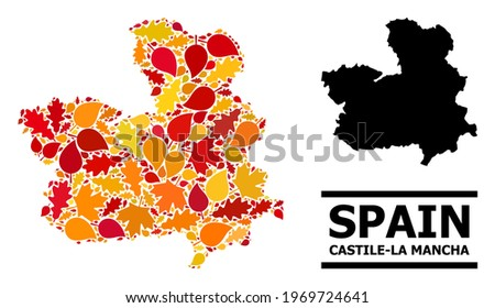 Mosaic autumn leaves and usual map of Castile-La Mancha Province. Vector map of Castile-La Mancha Province is done with random autumn maple and oak leaves. Abstract territorial plan in bright gold, Foto stock ©