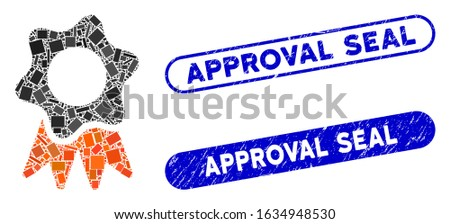 Mosaic award seal and grunge stamp seals with Approval Seal text. Mosaic vector award seal is formed with random rectangle items. Approval Seal stamp seals use blue color,