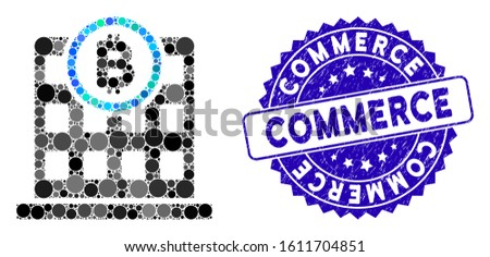 Mosaic Bitcoin corporation building icon and grunge stamp seal with Commerce caption. Mosaic vector is designed with Bitcoin corporation building pictogram and with random round elements.