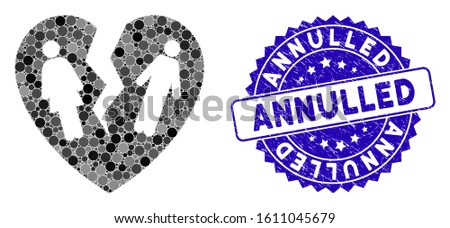 Mosaic broken family heart icon and rubber stamp seal with Annulled phrase. Mosaic vector is formed from broken family heart icon and with scattered circle elements. Photo stock ©