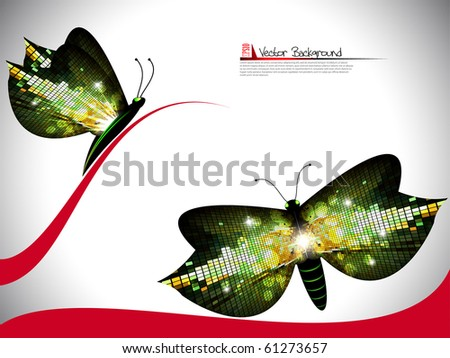 Mosaic butterfly.Vector.