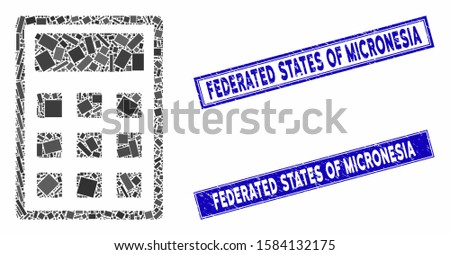 Mosaic calculator icon and rectangular Federated States of Micronesia seal stamps. Flat vector calculator mosaic icon of randomized rotated rectangular items.